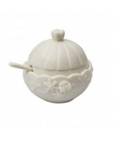 Barattolino con cucchiaino in porcellana color crema con rilievi e applicazioni completamente fatti a mano