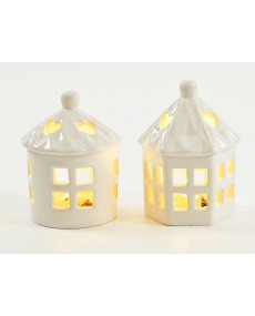 Lanterna in porcellana  bianca con luce led