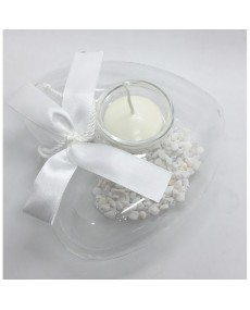 Porta tealight in vetro a cuore cm 11x11