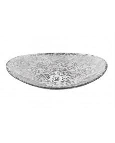 Centro tavola ovale con decoro specchiato argento 42x35 cm