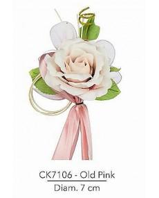 Composizione con rosa old pink d 7 x 18 h cm c/racchette porta confetti