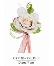 Composizione con rosa old pink d 7 x 21 h cm c/racchette porta confetti