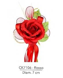 Composizione con rosa rosso d 7 x 21 h cm c/racchette porta confetti