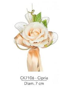 Composizione con rosa cipria d 7 x 18 h cm c/racchette porta confetti