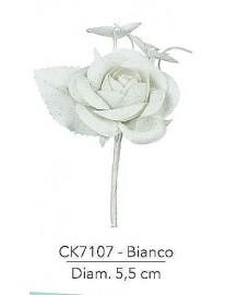 Composizione con rosa bianca iuta d 5.5 x 14 h cm