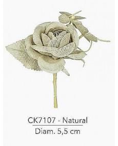 Composizione con rosa natural iuta d 5.5 x14 h cm