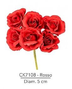 Fiore Rosa diametro 5 cm colore rosso con stelo modellabile in fil di ferro ricoperto