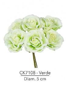 Fiore Rosa diametro 5 cm colore verde con stelo modellabile in fil di ferro ricoperto