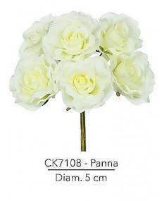 Fiore Rosa diametro 5 cm colore panna con stelo modellabile in fil di ferro ricoperto