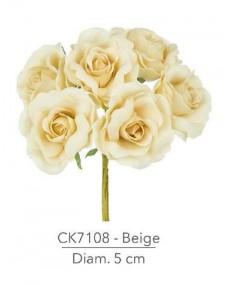 Fiore Rosa diametro 5 cm colore beige con stelo modellabile in fil di ferro ricoperto stendex verde