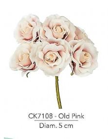 Fiore Rosa diametro 5 cm colore old pink con stelo modellabile in fil di ferro ricoperto stendex verde.