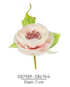 Composizione rosa inglese con foglie diametro 7 cm colore old pink con stelo modellabile in fil di ferro ricoperto.