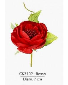 Composizione rosa inglese con foglie diametro 7 cm colore rosso con stelo modellabile in fil di ferro ricoperto.