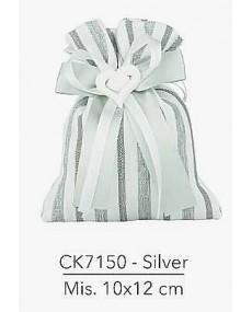 Sacchetto Bicolore con applicazione gessetto a forma di cuore misura: 10x12 cm colore silver