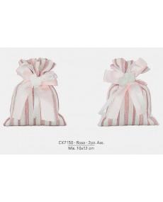 Sacchetto Bicolore con applicazione gessetto a forma di carrozzina misura: 10x12 cm colore rosa