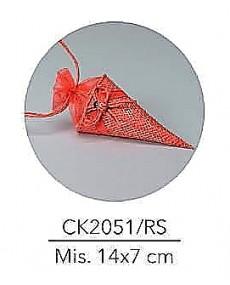 Cono porta confetti in juta e organza con decorazione coccinella,colore rosso ,mis: 14x7 cm