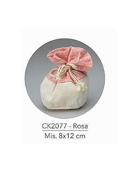 Sacchetto con tirante e decorazione rosa, mis: 8x12 cm
