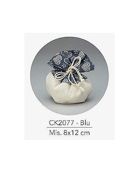 Sacchetto con tirante e decorazione blu, mis: 8x12 cm