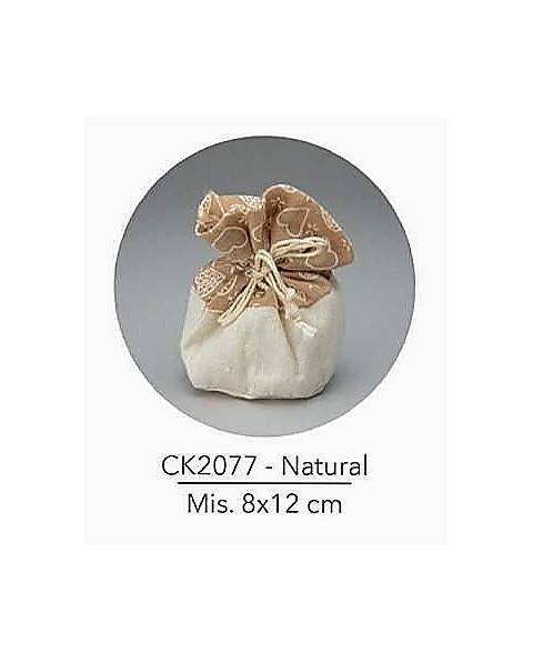 Sacchetto con tirante e decorazione natural, mis: 8x12 cm