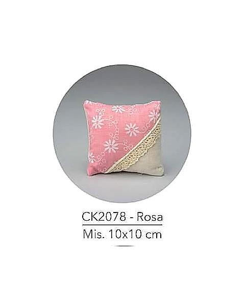 Cuscino con decorazione rosa , mis: 10x10 cm