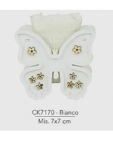 Bomboniere per sacchettino, oggetto in legno pantografato  farfalla, colore bianco, misura 7x7 cm