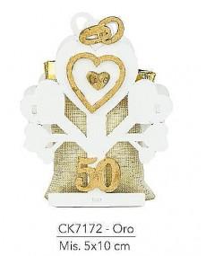 Bomboniere per sacchetto, oggetto in legno pantografato  albero per 50° anniversario di matrimonio, misura 5x10 cm