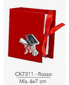 Astuccio porta confetti per laurea colore rosso , misura 6x7 cm