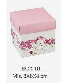 Scatola fondo e coperchio colore rosa  misura 8x8x8 cm