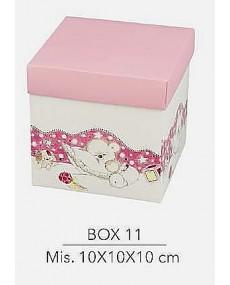 Scatola fondo e coperchio colore rosa con decorazione orsetto , misura 10x10x10 cm