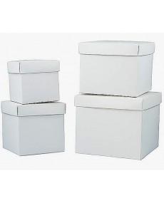 Scatola fondo e coperchio colore bianco, misura 8x8x8x cm