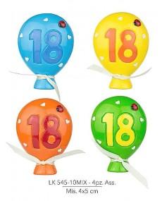Palloncino 18° compleanno in resina, 4 pz assortiti, mis: 4x5 cm