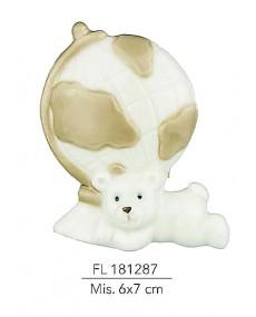 Mappamondo con orso colore tortora e panna mis: 6x7 cm