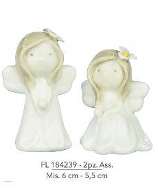 Angeli in ceramica porcellanata 2 pz assortiti mis: 6 cm - 5,5 cm