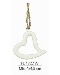 Appendino cuore in porcellana colore bianco mis. 4x4,5 cm