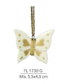 Appendino farfalla in porcellana colore tortora e bianco mis: 5,5x4,5 cm
