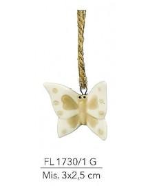 Appendino farfalla in porcellana colore tortora e bianco mis: 3X2.,5 cm