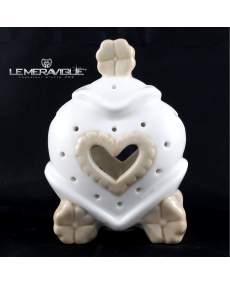 CARROZZA PORCELLANA LED CUORE 8x5x12 CM
