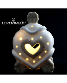 CARROZZA PORCELLANA LED CUORE 10x6x15 CM