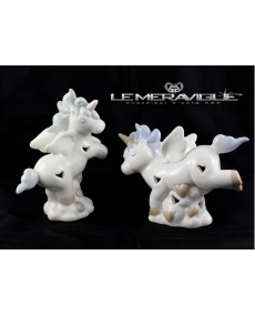 UNICORNO PORCELLANA LED CELESTE2 ASS. 12x5x10 CM