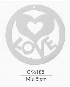 GESSETTO CON DECORAZIONE CUORE LOVE MIS: 5 CM