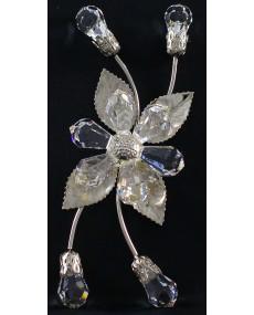 Rametto a 4 bocciolo goccie e fiore goccie in cristallo swarovski e metallo ARG