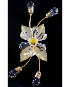 Rametto a 4 boccioli goccie, e fiore goccie in cristallo swarovski e metallo ORO