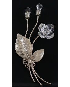 Composizione a 3 rami con doppia goccia bocciolo, e fiore a 6 petali in cristalli swarovski, e metallo ARG