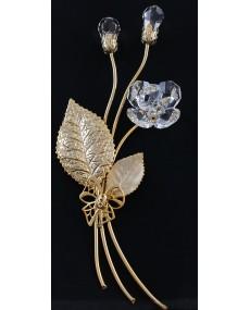 Composizione a 3 rami con doppia goccia bocciolo, e fiore a 6 petali in cristalli swarovski, e metallo ORO.