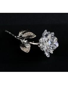 Stelo in fusione arg. con rosa a 11 petali in cristallo swarovski.