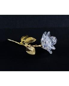 Stelo in fusione oro r. con rosa a 11 petali in cristallo swarovski.