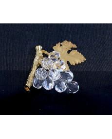 Tralcio uva in fusione oro r. con goccie in cristallo swarovski.
