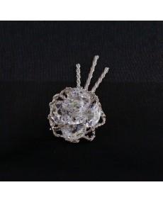 Mughetto in fusione arg. con fiore in cristallo swarovski.