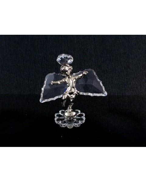 Angioletto in fusione arg. con ali e aureola in cristallo swarovski.