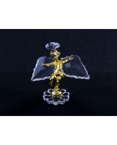 Angioletto in fusione bagno oro, con ali ed aureola in cristallo swarovski